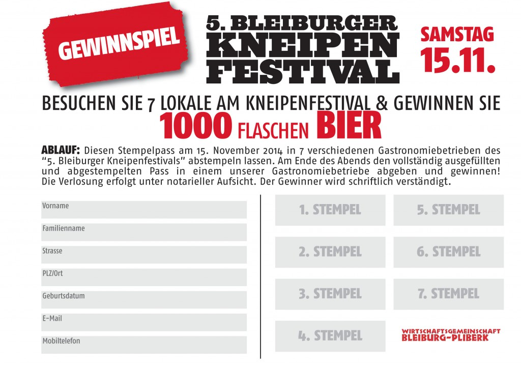 Kneipenfestival Stempelpass 2014